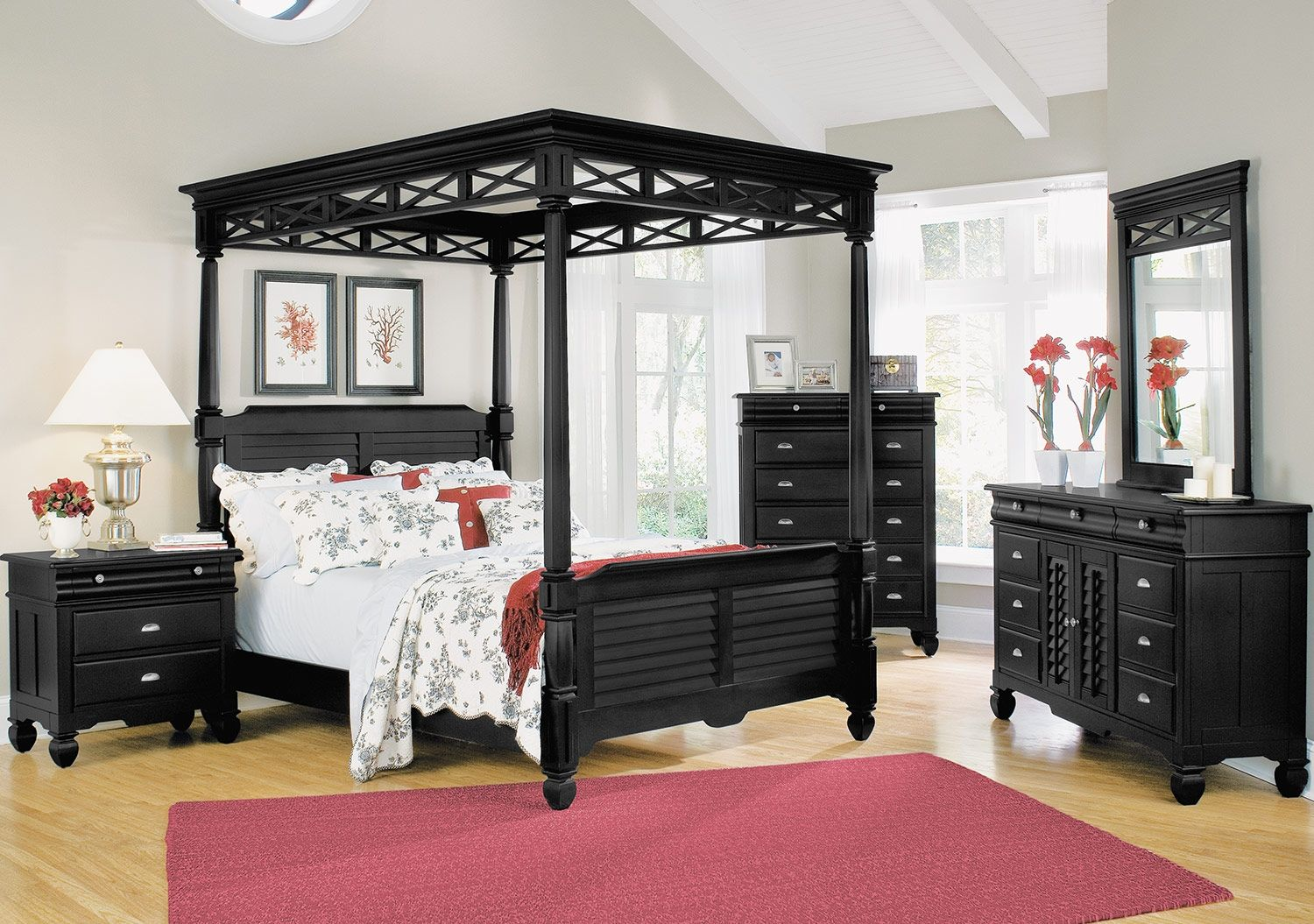 American Signature Furniture  Plantation Cove Black Canopy Bedroom My next bedroomset Queen Bed