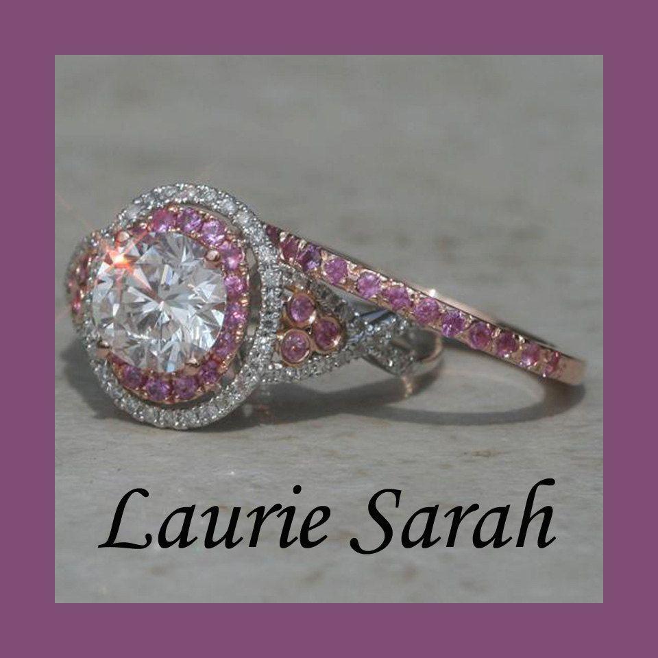1 Carat Round Diamond Wedding Set With Pink Sapphire Band