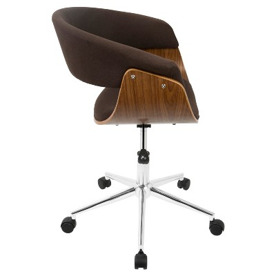 Vintage Mod Mid Century Modern Office Chair Walnut
