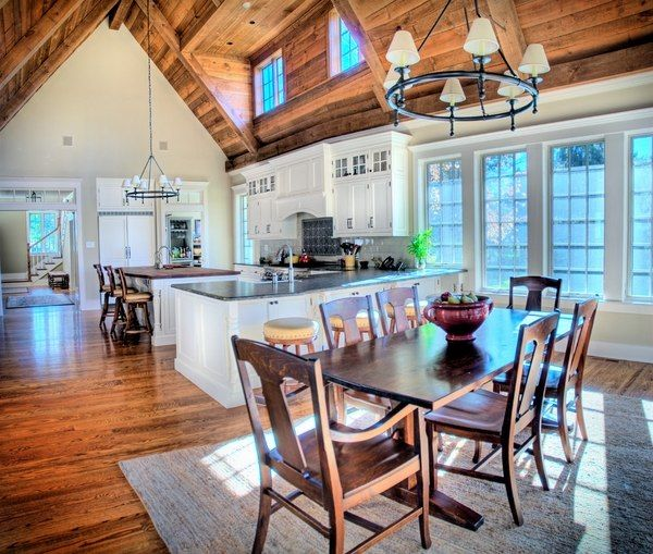Vaulted Ceiling Lighting Wrought Iron Chandeliers Skylights Kitchen Dining Room Ideas