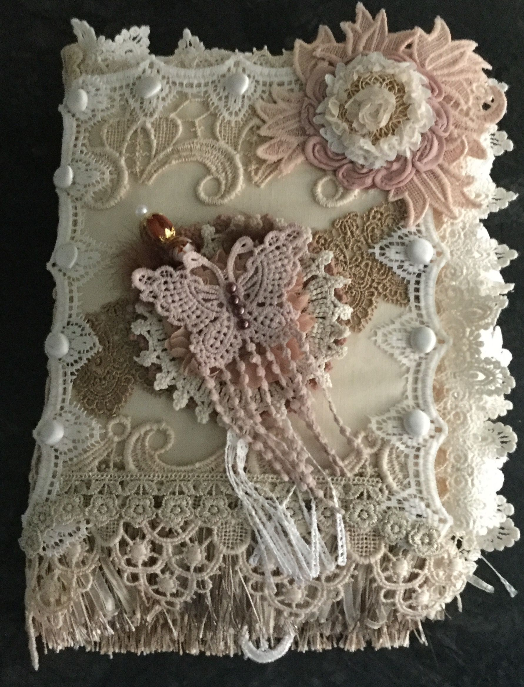 Vintage Style Lace Book By Jean Wragg Lace Crafts Handmade Books Fabric Book