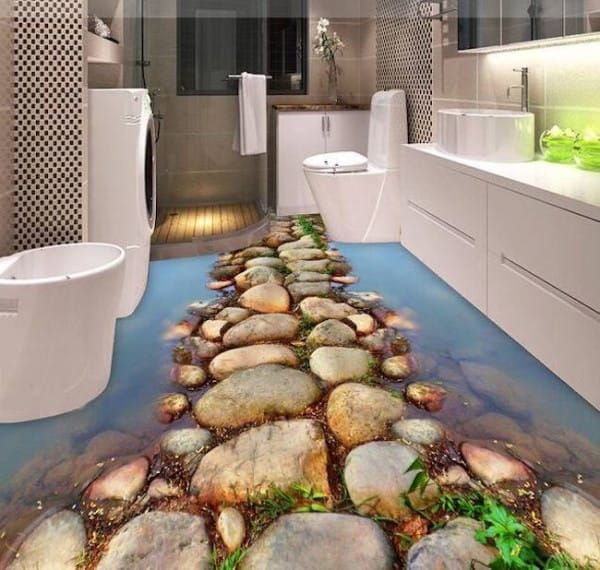 Epoxy Floors Are Completely Transforming The Interior Design Game Epoxy Floor Floor Murals 3d Bathroom Design