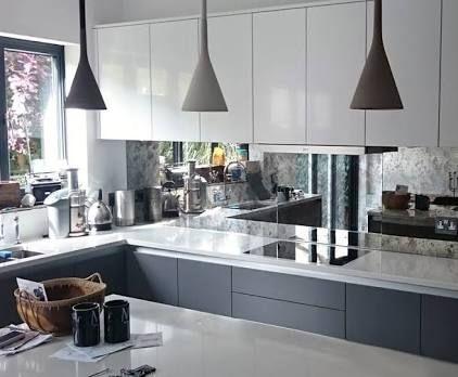 Image result for mirrored splashback grey kitchen ...