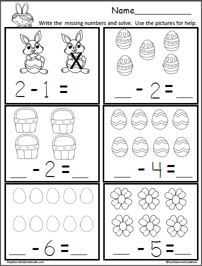 free easter subtraction math worksheet teacher kindergarten math kindergarten worksheets. Black Bedroom Furniture Sets. Home Design Ideas