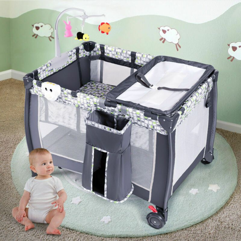 Foldable 4 Color Baby Crib Baby Bed Playpen Playard Portable Baby Cribs Baby Cribs Bed Bassinet
