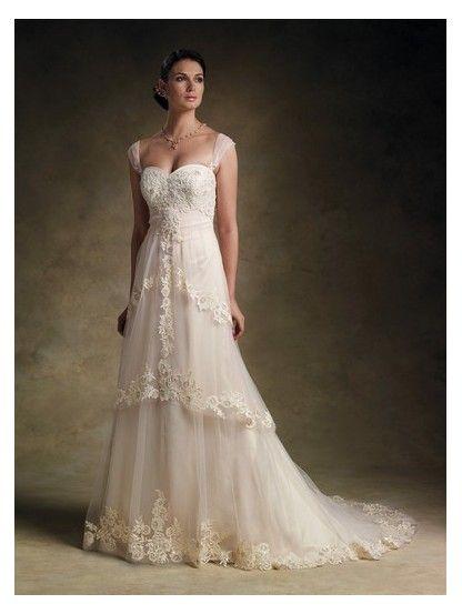 Chapel train sweetheart empire waist long satin cap for Ivory empire waist wedding dress