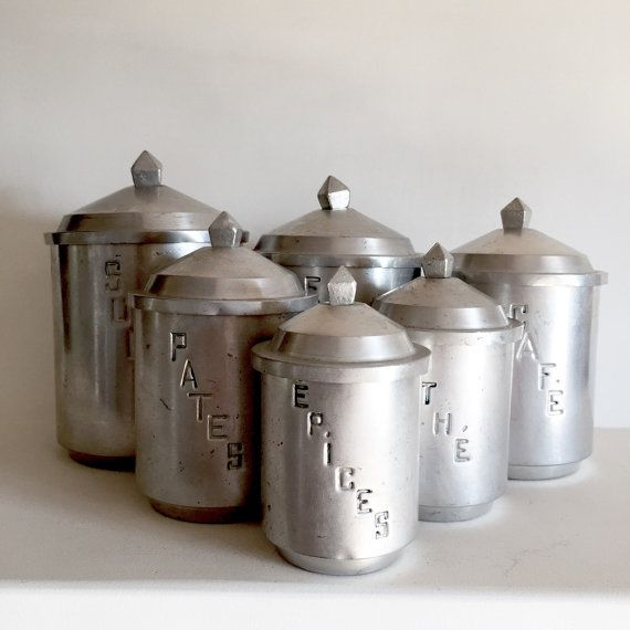 Unique French Vintage Aluminum Kitchen Canisters Set Of 6 Graduated Containers Rare Design With Geometric Tops