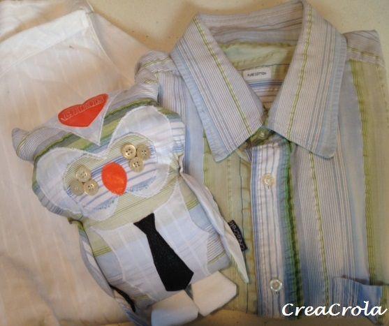 www.CreaCrola.nl Herinneringsknuffel Uilen, gemaakt van opa's mooie overhemden, cadeau voor OnsMam zelf