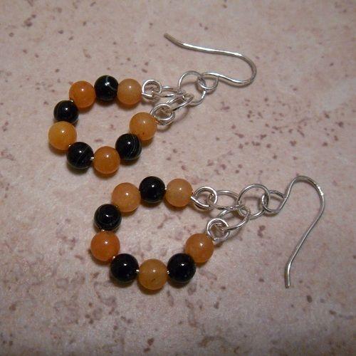 The Gem Girl Jewelry Handmade Orange Jade & Black Onyx Sterling Silver Earrings ~ Perfect for Halloween