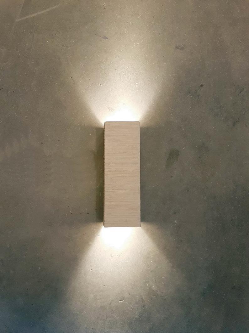Modern Handmade Ceramic Led Wall Light Up Down Cube Indoor Etsy In 2020 Led Wall Lights Wall Lights Lamps Fixtures