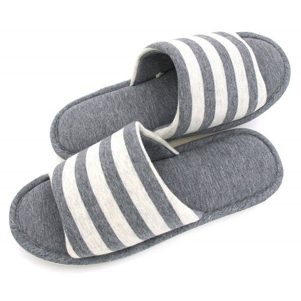 Women's Memory Foam Cotton Washable Stripe Slippers for Travel House Hotel Spa Bedroom  Grey Stripes  CU187DT59QL is part of Hotel bedroom Grey - Color Grey Stripes SKU CU187DT59QL Giftwrap Available