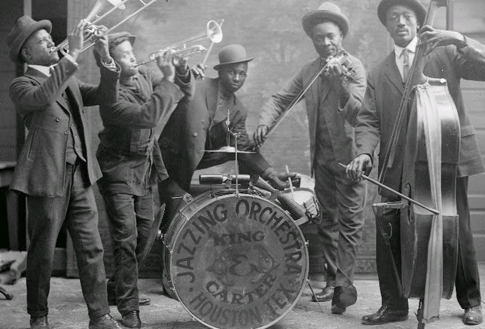 The Jazz Age was a feature of the 1920s when jazz music and dance became popular.Image of The King & Carter Jazzing Orchestra, 1921.