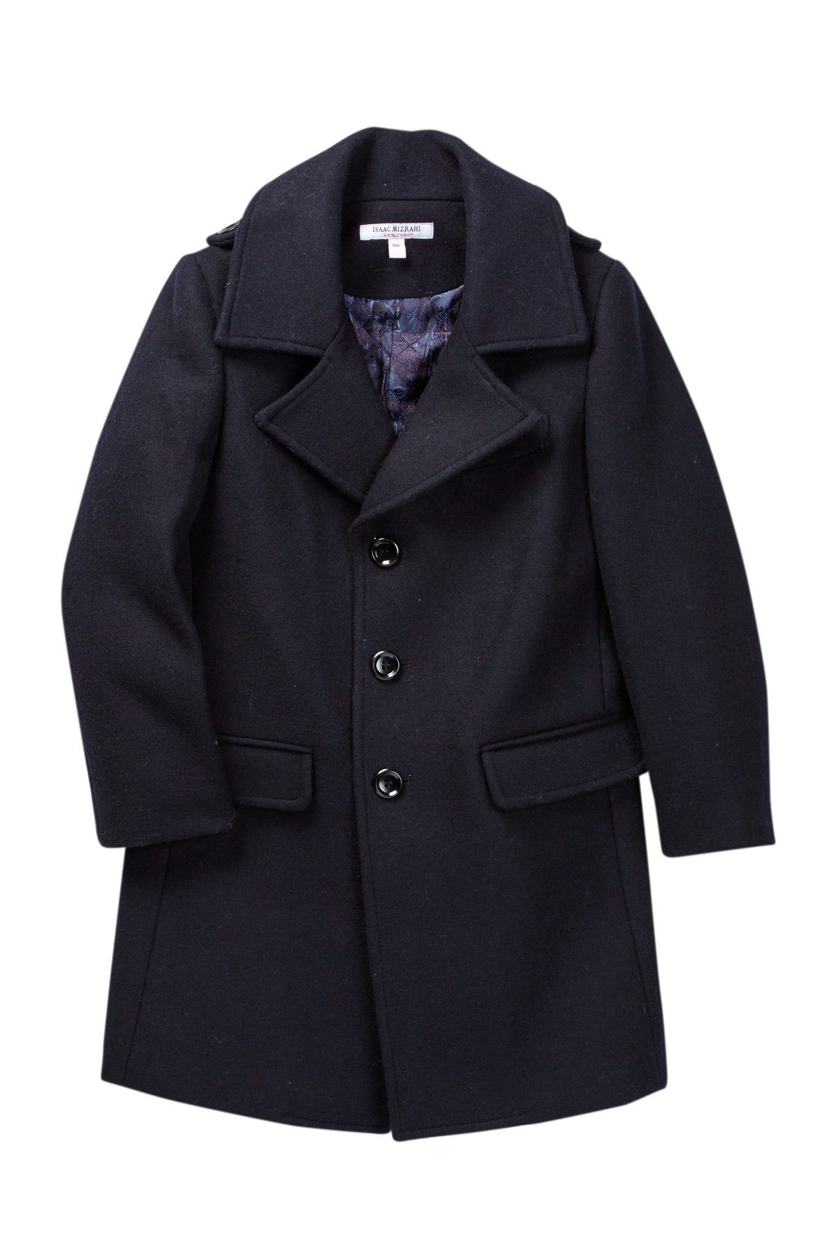 Isaac Mizrahi Single Breasted Wool Blend Overcoat (Toddler