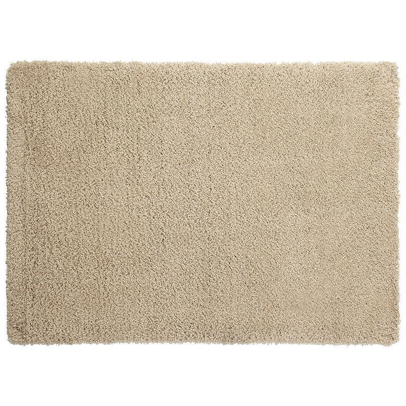 Spaces Home & Beyond by Welspun Teddy Solid Shag Rug, Beig/Green (Beig/Khaki)