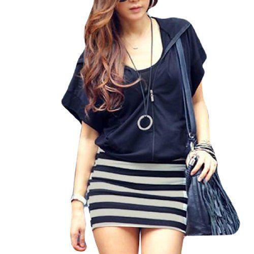Allegra K Women Casual Zipper Closure Hooded Mini Dress Navy Blue M for only $13.35