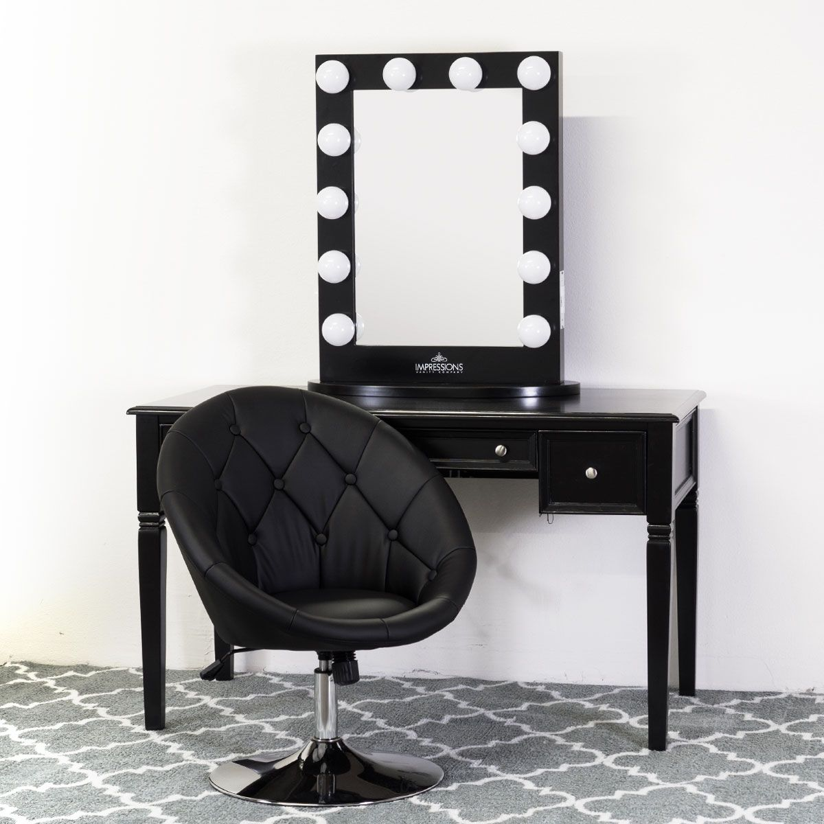 black vanity desk with mirror. Classic Black Vanity Table with Power Outlets  desk