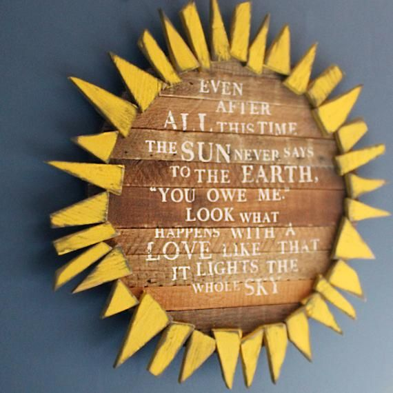 Sunflower Sign Inspirational Quote Bedroom Decor Love