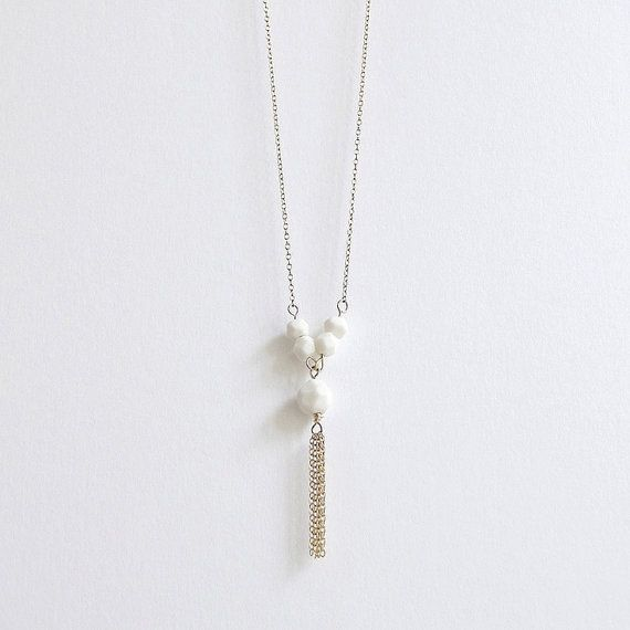 L e l ï a - Tassel necklace - Faceted porcelain bead & fine gold-filled chain - Dainty retro jewelry - Eleïa Collection