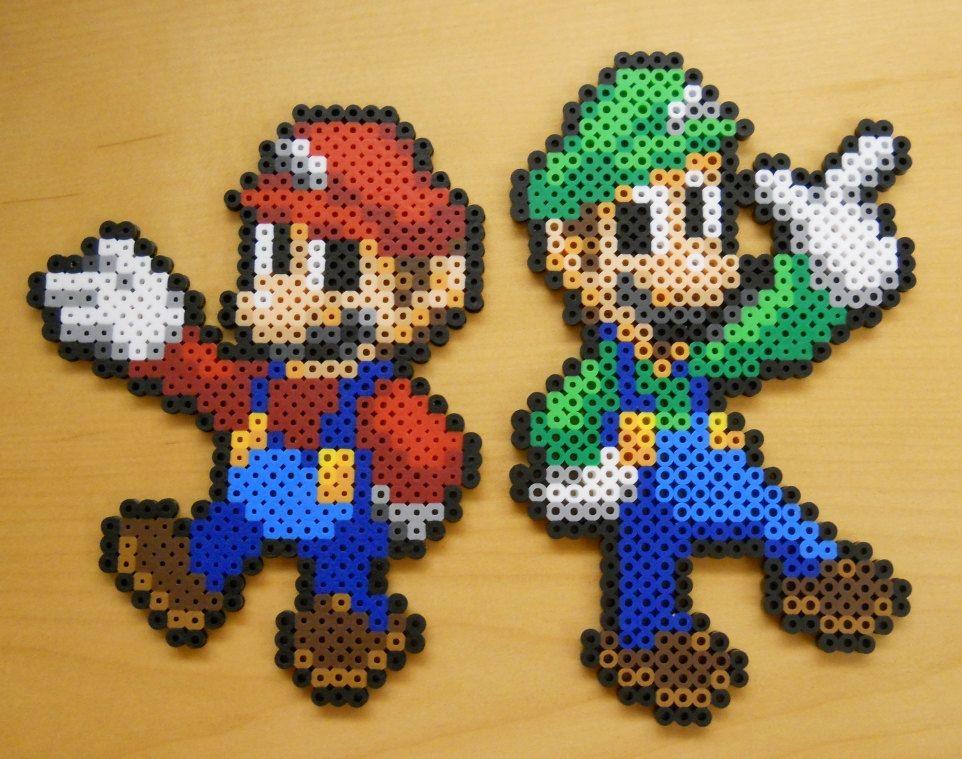 Mario And Luigi Perler Bead Sprites By Corneliuspixelcrafts