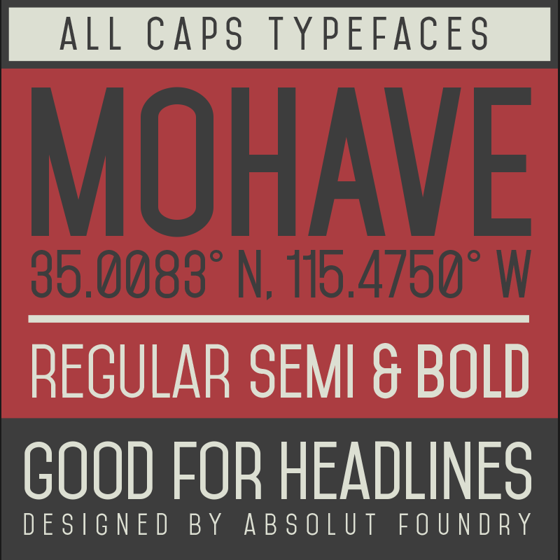 Mohave - a free all caps typeface.