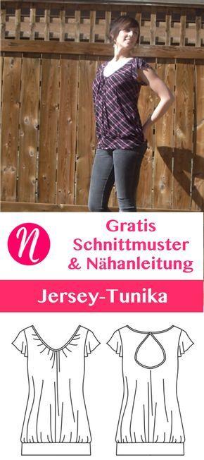 Gratis Schnittmuster für eine Damentunika aus Jersey. PDF-Schnittmuster Größe XS, S, M, L, XL. Nähtalente.de - Magazin für kostenlose Schnittmuster - Free sewing pattern for a woman jersey-tunic. Size XS - XL