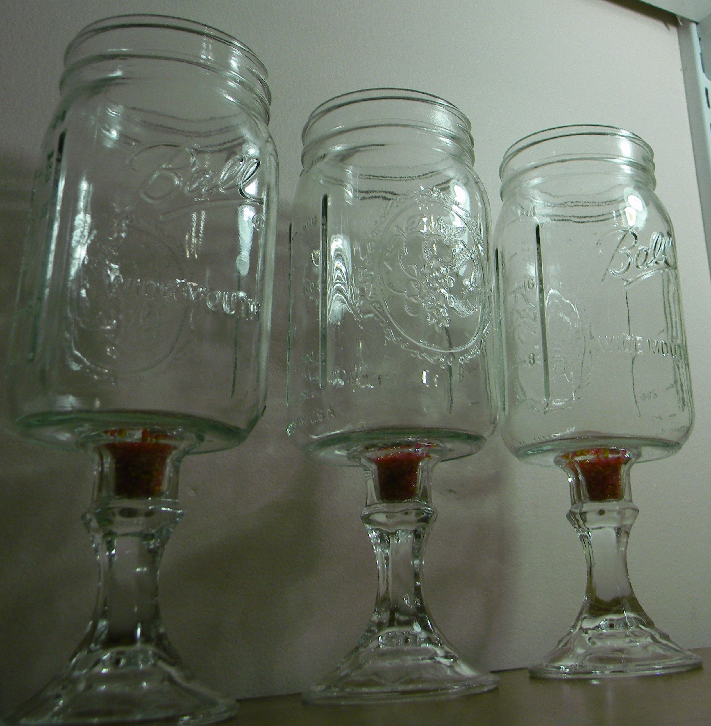 Redneck wine glasses i made out of mason jars dollar tree candle