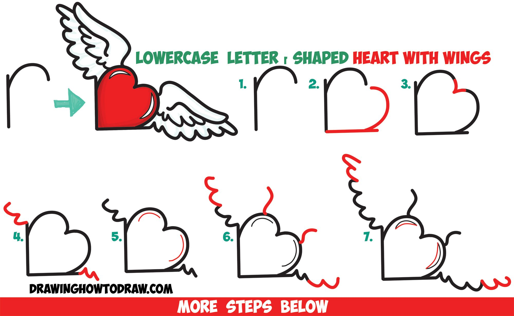 How To Draw Heart With Wings From Lowercase Letter R Shapes Easy Step By Step Drawing Tutorial How To Draw Step By Step Drawing Tutorials Heart Drawing Wings Drawing Drawing Tutorial