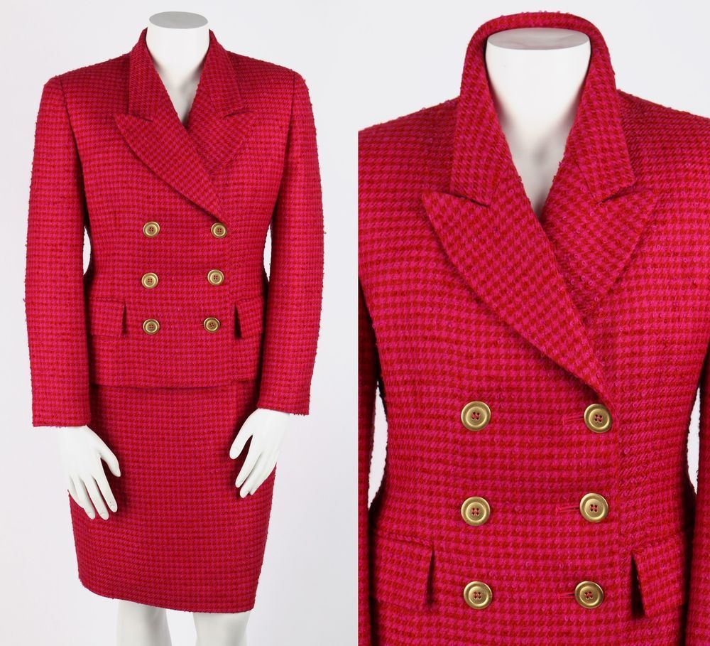 VTG 1980s CHRISTIAN DIOR 2 PC MAGENTA PINK RED BOUCLE JACKET SKIRT SUIT SZ 14 #ChristianDior