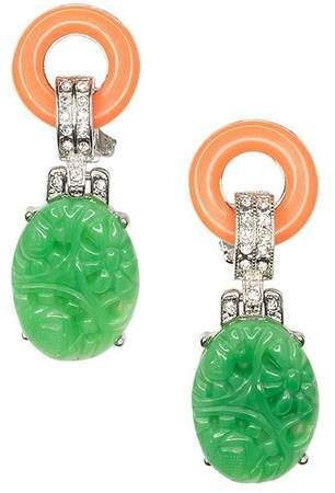 Kenneth Jay Lane Coral And Jade Art Deco Clip Earring Coral/jade 1MeJoT