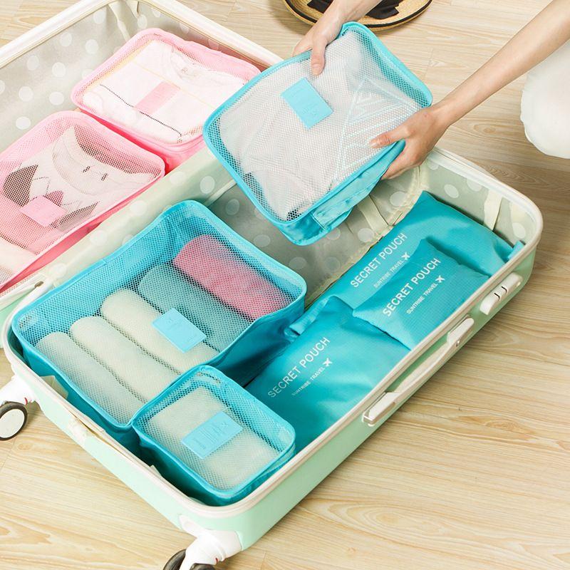 새로운 나일론 포장 큐브 여행 가방 지퍼 방수 6 개 한 세트 큰 용량 가방 남녀 의류 정렬 구성 가방