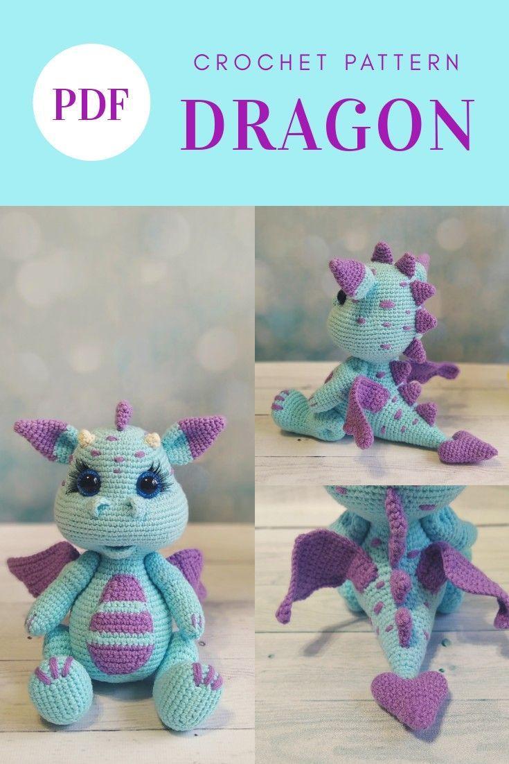 Crochet PATTERN Dragon. Dragon baby Amigurumi toys. Amigurumi patterns | Crochet dragon pattern, Cro #amigurumi