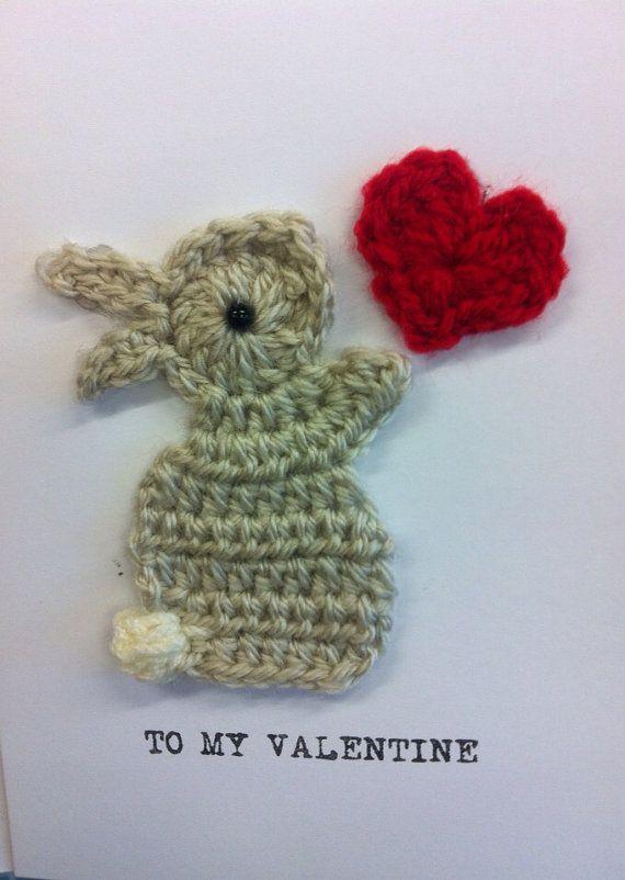 Carte de voeux de lapin et de coeur de Valentine mignon | Etsy   – Häkeln