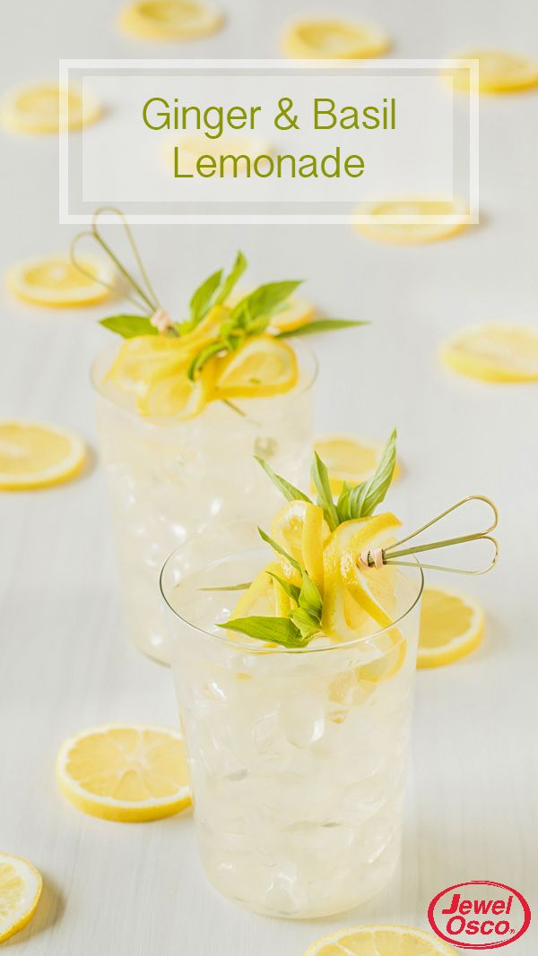 This Ginger and Basil Lemonade will pair perfectly with any of your summer grilling favorites! Garnish with a lemon slice and torn basil leaves for a rustic, natural look.