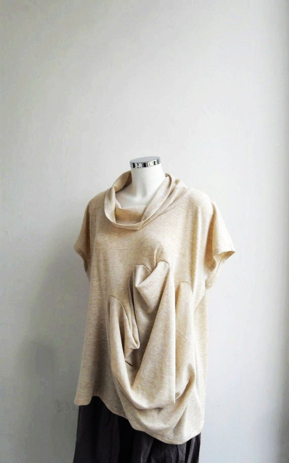 Subtraction Cutting Ivory Plug In Tunic Blouse Top Vest - Cotton Jersey -  Sculptural - Casual