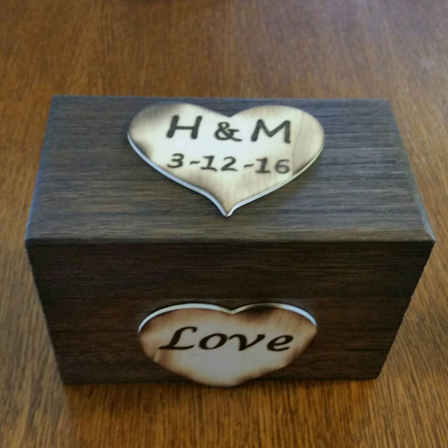 Hand Engraved Wooden Recipe Box With Hearts 4x6 Recipe Card Holder
