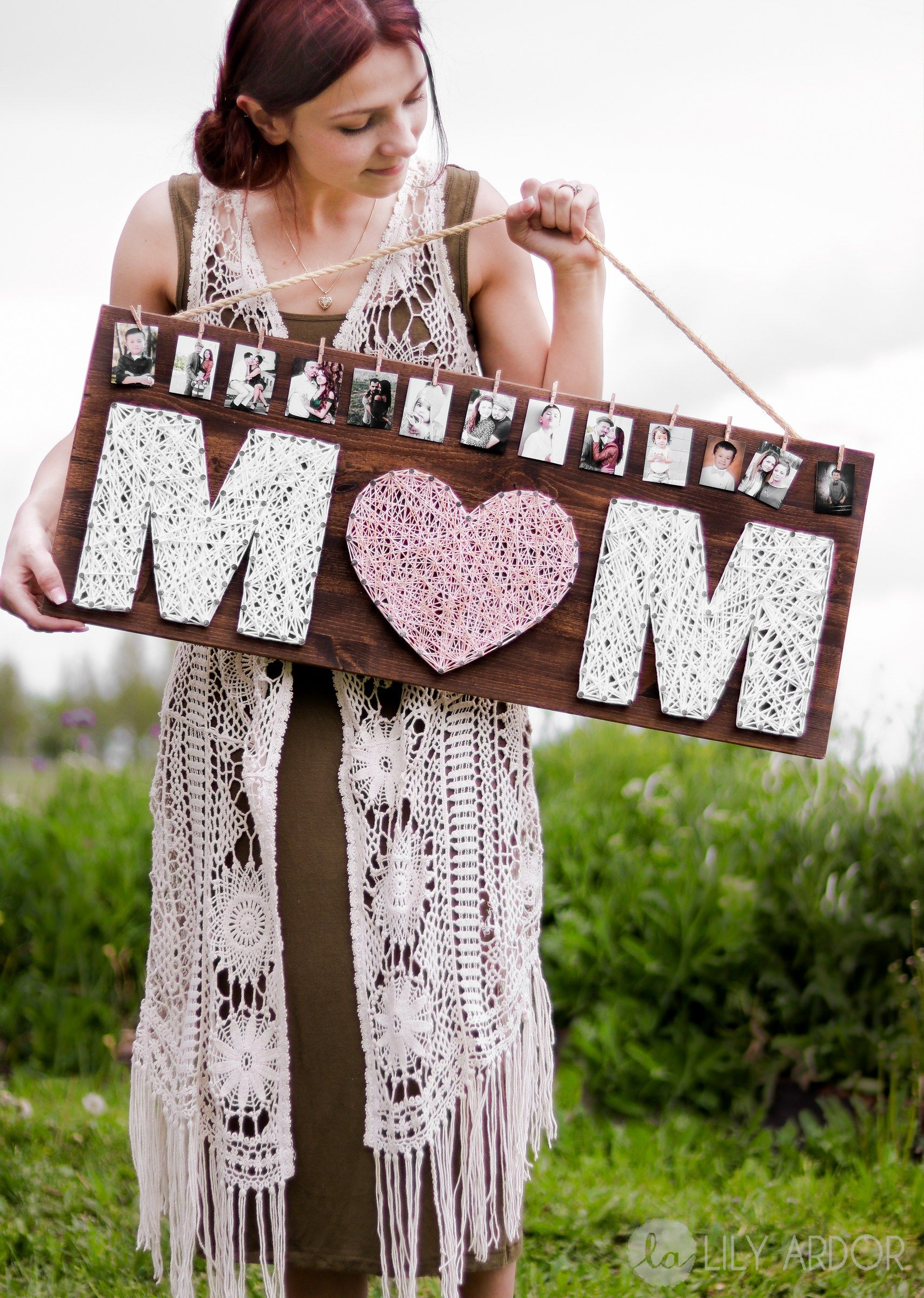 String Art Mother's Day gift - personalized DIY Mother's Day present with photos