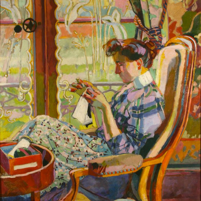 Maurice marinot french 1882 1960 embroidering by the for Toile de fenetre