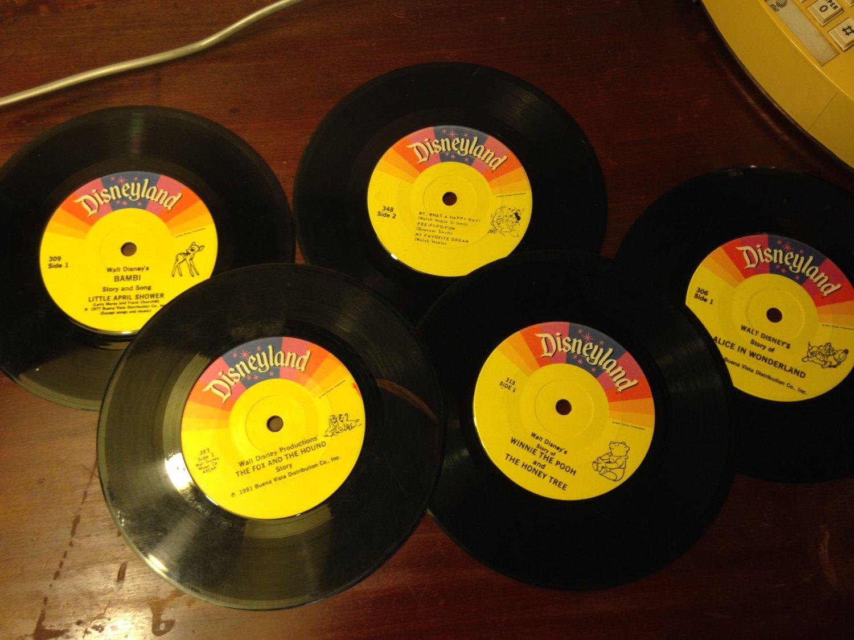 Read Along Records Walt Disney Books Disneyland Records 7