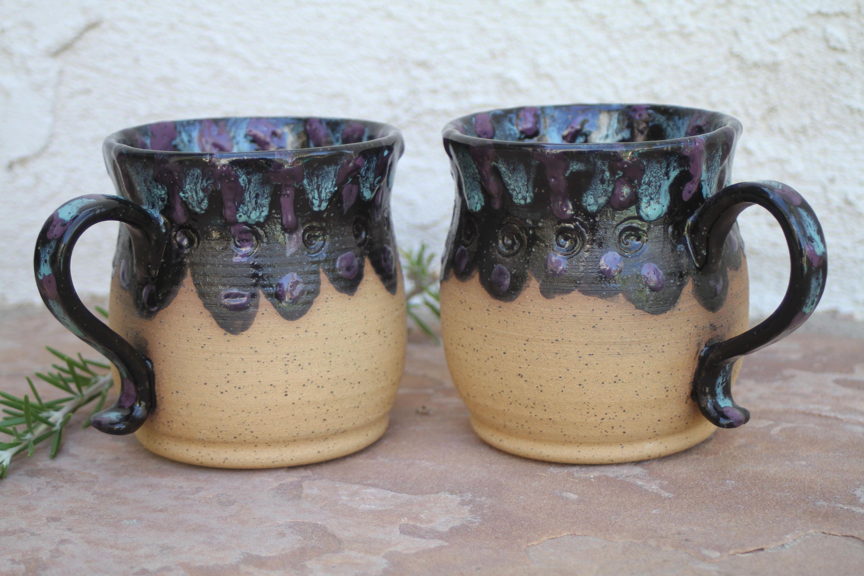 Large black mug set set handmade ceramic coffee cups large