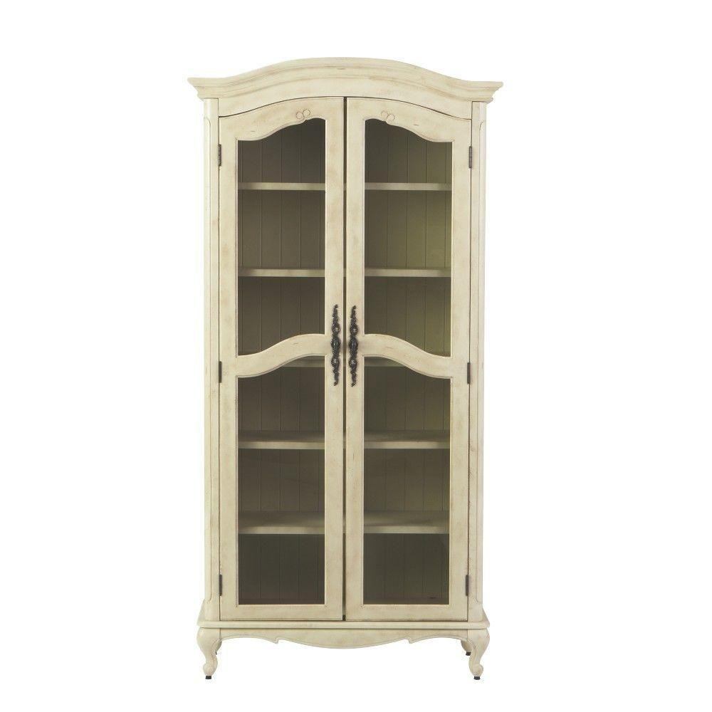 Home Decorators Collection Provence 6 Shelf Glass Bookcase In  Cream 0505400410   The Home