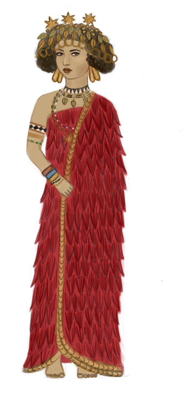 sumerian royal woman wearing jewelry of gold and other