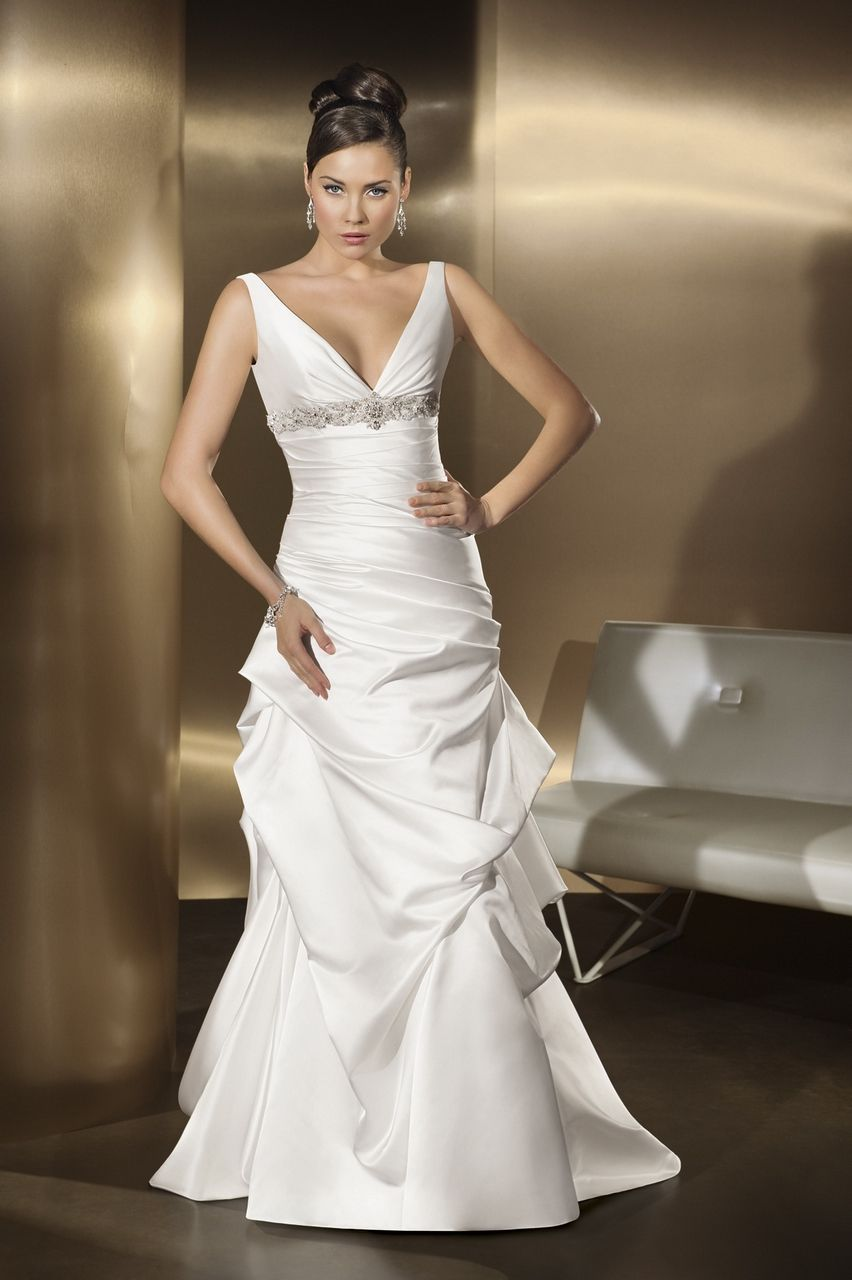 Decent white beaded waistline empire satin ruched court train