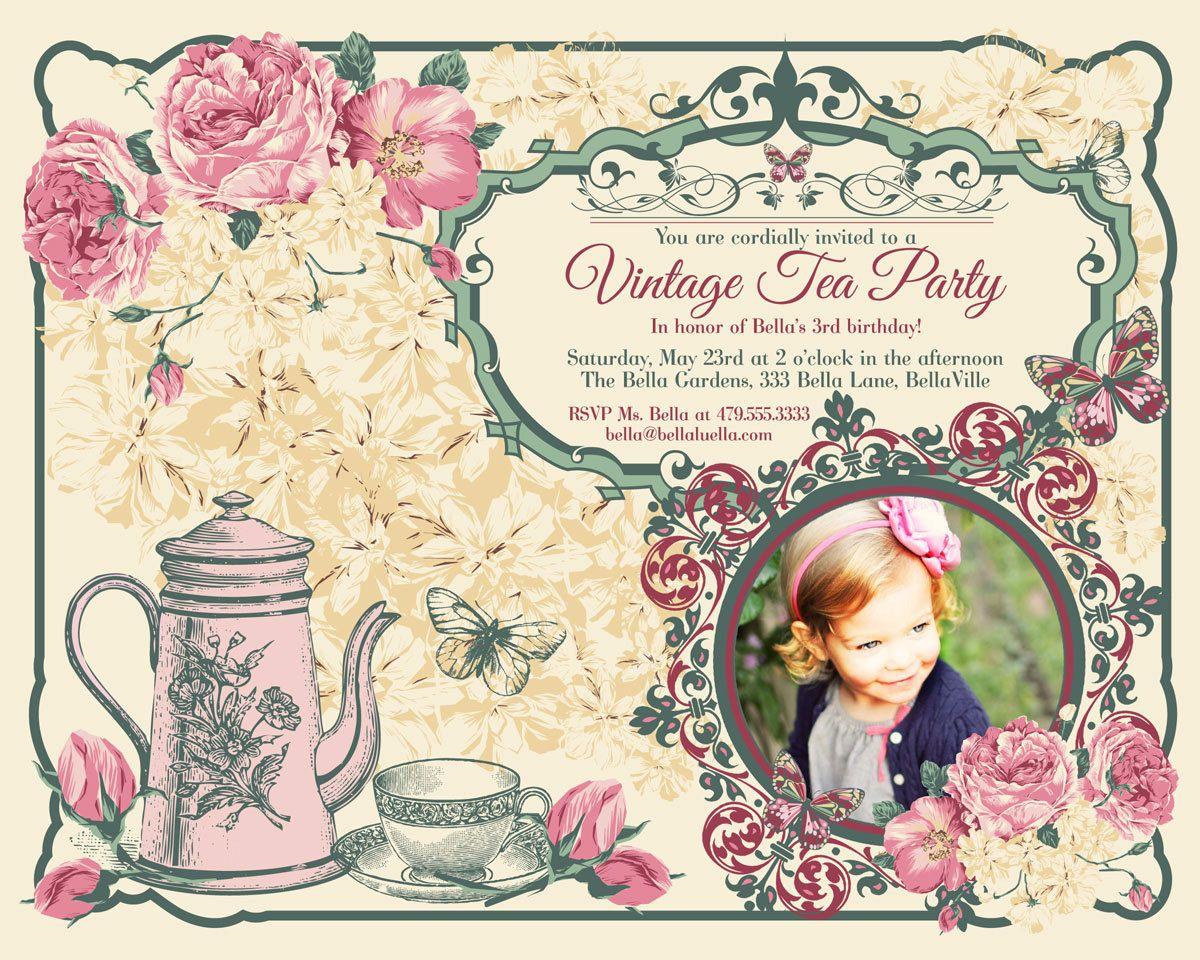Vintage Tea Party Invitation Photo Card Photo Card by BellaLuElla ...
