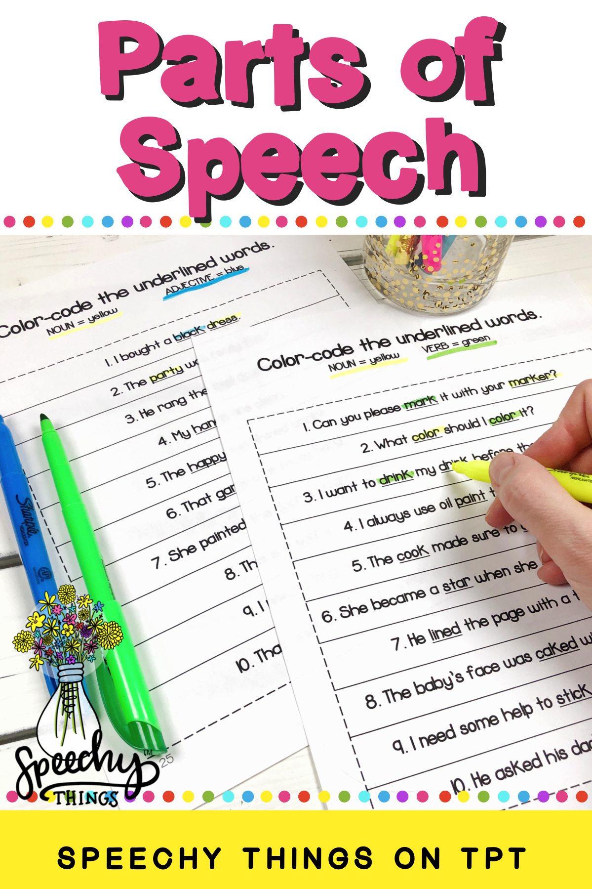 Parts Of Speech Activities For Speech Therapy Or Language Worksheets For The Classroom Fun Language Therapy Activities Part Of Speech Grammar Parts Of Speech [ 1799 x 1199 Pixel ]