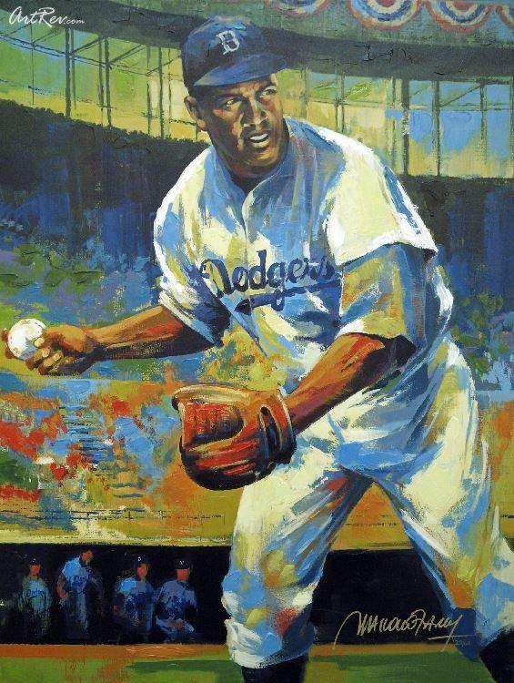 Jackie Robinson By Malcolm Farley 30 X40 Sports Art Baseball Art Baseball Painting