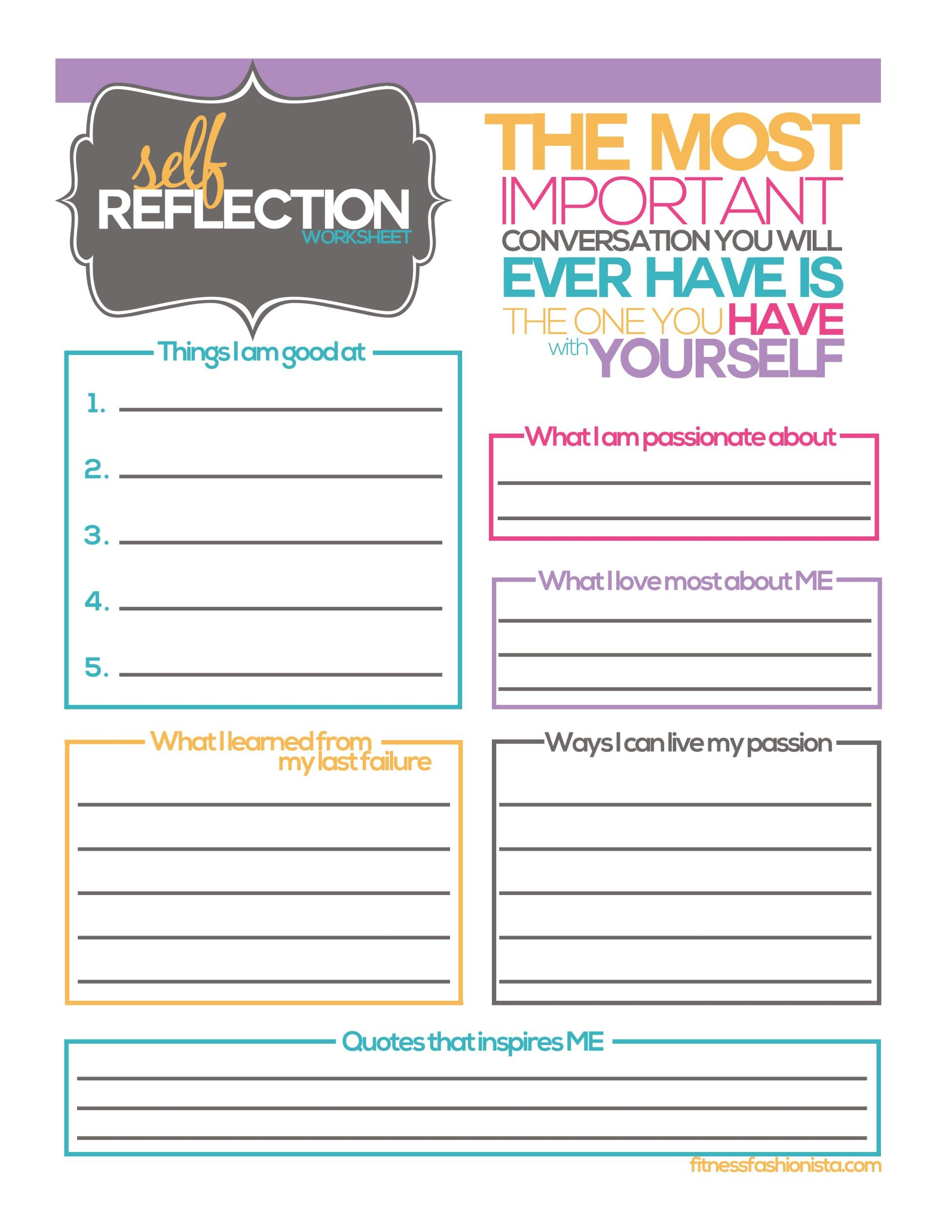 Self Reflection Worksheet With Images