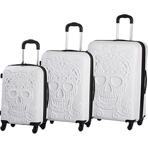 It Luggage Skull Emboss 3 PC Spinner Luggage Set Hardside Luggage ...