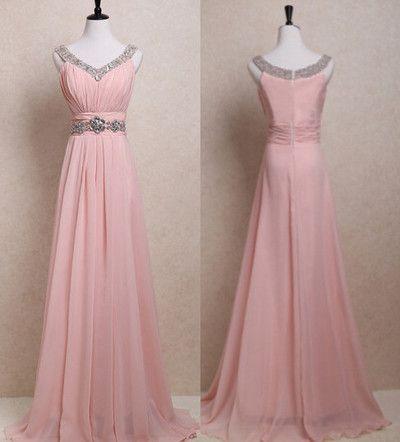 2017 Custom Charming Prom Dress,Chiffon Prom Dress,V-Neck Prom Dress,Beading Prom Dress,Brief Prom Dress