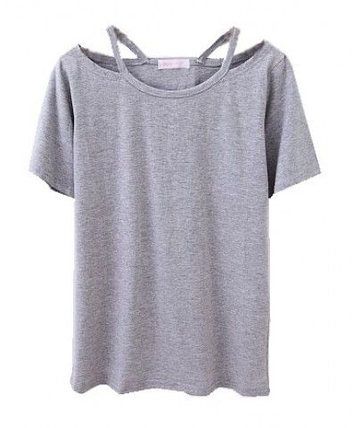 T Shirt Design Ideas Cutting Grey T Shirt With Cut Out Design Neckline 18