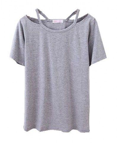 T Shirt Cut Out Designs | Grey T Shirt With Cut Out Design Neckline 18 Crafty T Shirt